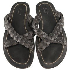 Men's GUCCI Size 12 Black Braided Leather X Strap Sandals