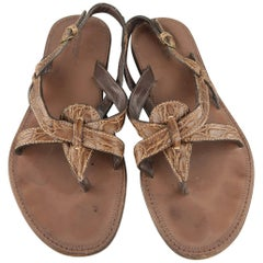 Men's BOTTEGA VENETA Size 8 Brown Alligator Textured Sandals