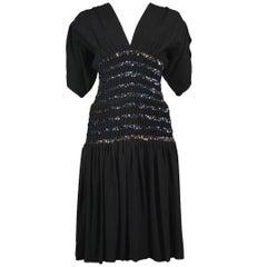 Vintage Yves Saint Laurent 1983 Black Sequin Cocktail Dress