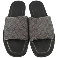 Men's GUCCI Size 11.5 Black Guccissima Monogram Canvas Slide Sandals