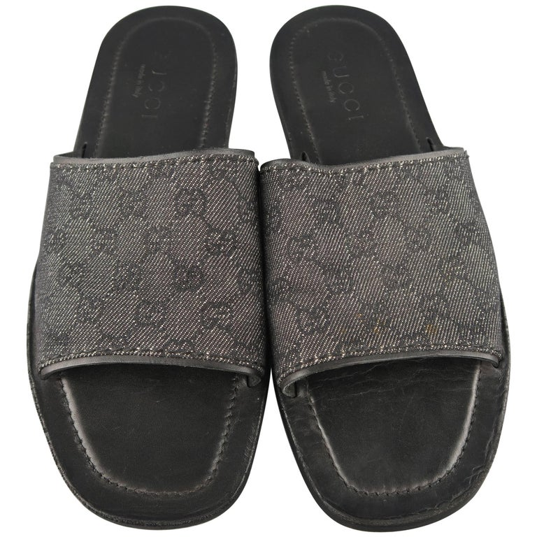 f134509c278 Men s GUCCI Size 11.5 Black Guccissima Monogram Canvas Slide Sandals For  Sale