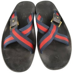 Men's GUCCI Size 11 Navy & Red Stripe Canvas Strap X Sandals