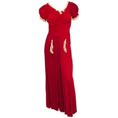 1930s Red Velvet and Lace Bias Cut Dress