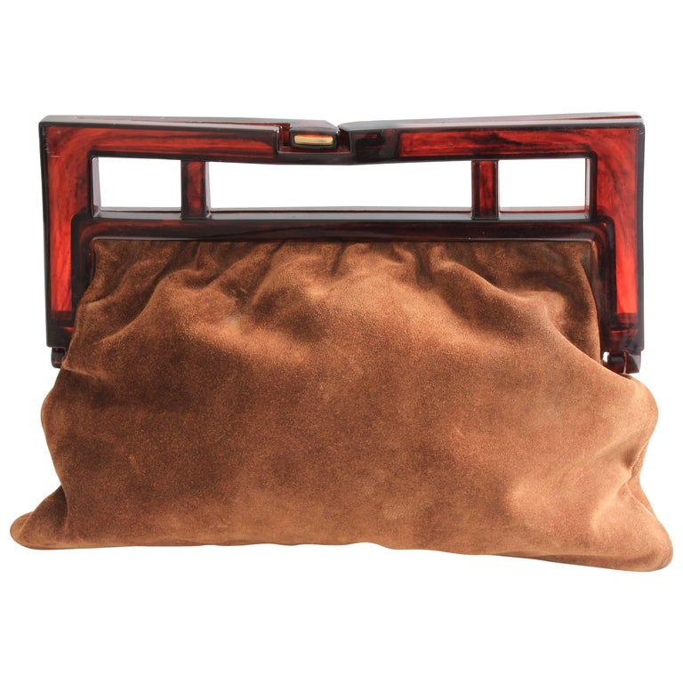 Vintage Suede Leather Clutch Bag with Resin Handles Rare by Sirocco Italy 1970s