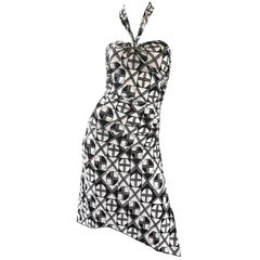 1990s Gianni Versace Versus Black and White Abstract Vintage 90s Halter Dress