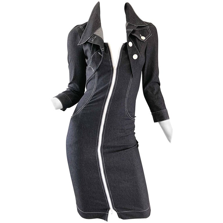 Vintage Angelo Tarlazzi 1990s Denim Bodycon Faux Bolero 90s Blue Jean Dress For Sale