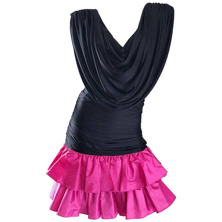 9841f58348b 1980s Hot Pink + Black Avant Garde Strong Shoulder Vintage 80s Cocktail  Dress For Sale