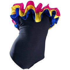 NWT Vintage Bill Blass Amazing Flamenco Style One Piece Swimsuit Bodysuit