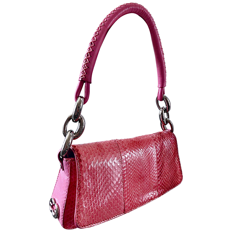 Escada 2000s Pink Python Snake Skin Silver Link Evening Shoulder Bag Purse