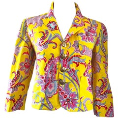 Vintage Ralph Lauren Purple Label Paisley Yellow Cotton Linen Cropped Jacket
