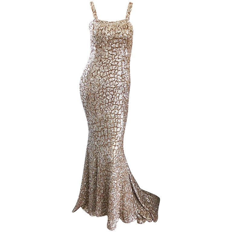 Monique Lhuillier Gorgeous Resort 2012 Gold Rose Gold Full Sequin Trained Gown