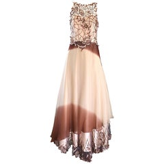 Max Nugus Haute Couture 1990s Size 8 Pink + Brown Ombre Chiffon Vintage 90s Gown