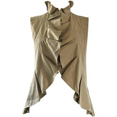 Tom Ford for Yves Saint Laurent Khaki Tan YSL Cotton Safari Ruffle Vest