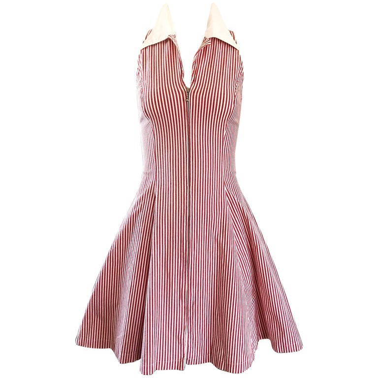 Angelo Tarlazzi Vintage Red and White Seersucker Nautical Striped Dress, 1990s