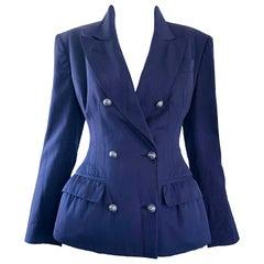 Madonna's Rare Jean Paul Gaultier 1988 Navy Padded Vintage Blazer 80s Jacket