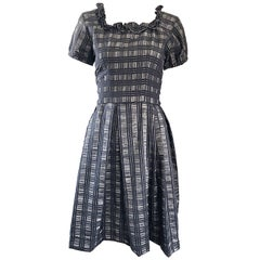 1950s Grey + Black Silk Plaid Taffeta Fit n Flare Short Sleeve Vintage 50s Dress