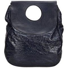 Balenciaga Black Two Tone Patent Leather Ottoman Dupionne