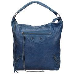 Balenciaga Blue Motocross Leather Day Bag
