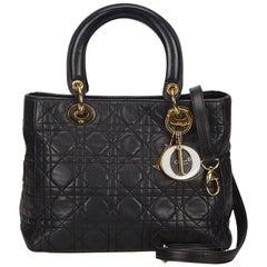 DiorBlack Cannage Lady Dior Leather Satchel