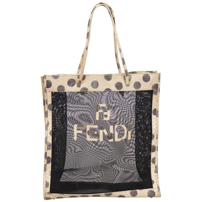 65f145e3b266 Fendi Black x Ivory Mesh Tote bag at 1stdibs