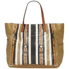 Gucci Brown x Multi Striped Coated Canvas Tote Bag