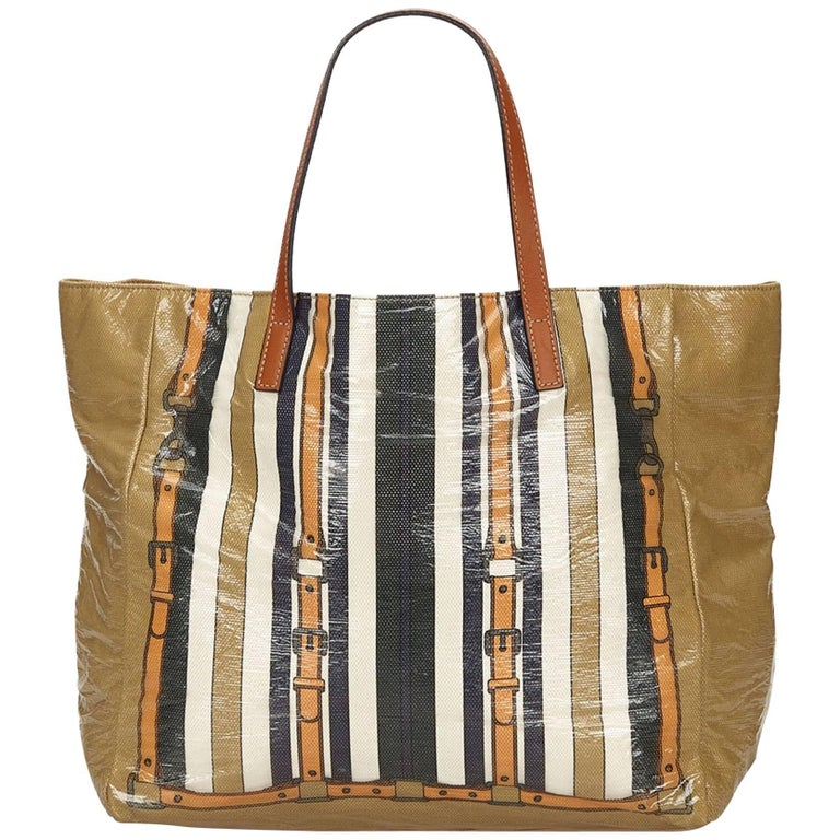 e0d8bd8abf0 Gucci Brown x Multi Striped Coated Canvas Tote Bag at 1stdibs