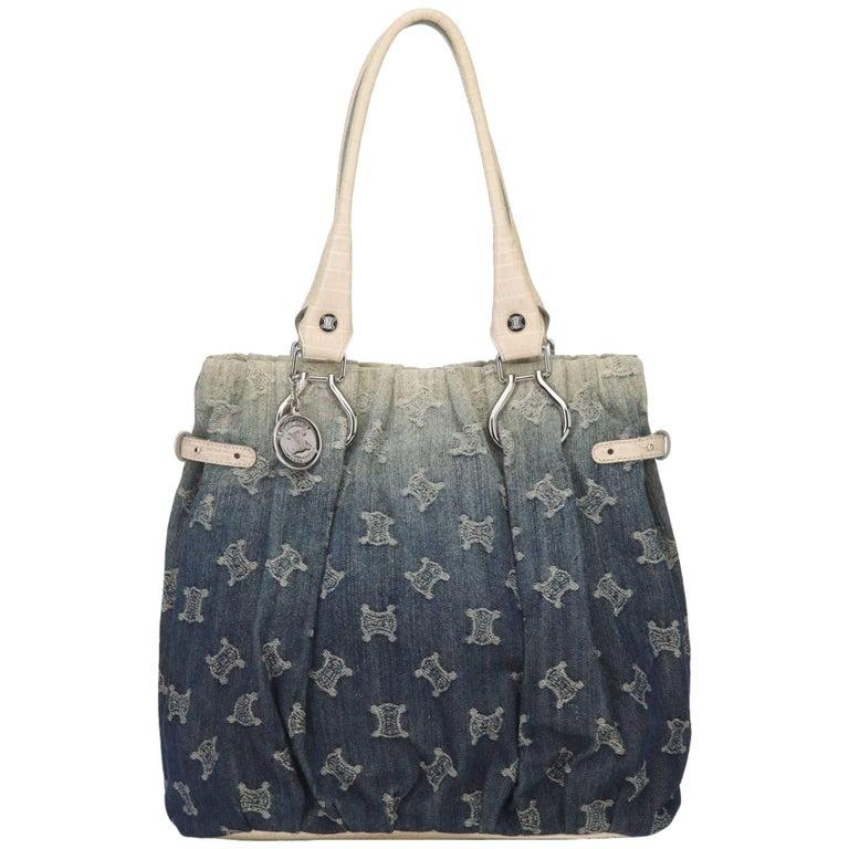 Celine Denim Macadam Shoulder Bag