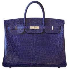 Hermès 40cm Electric Blue Porosus Crocodile Palladium H/W Birkin Bag