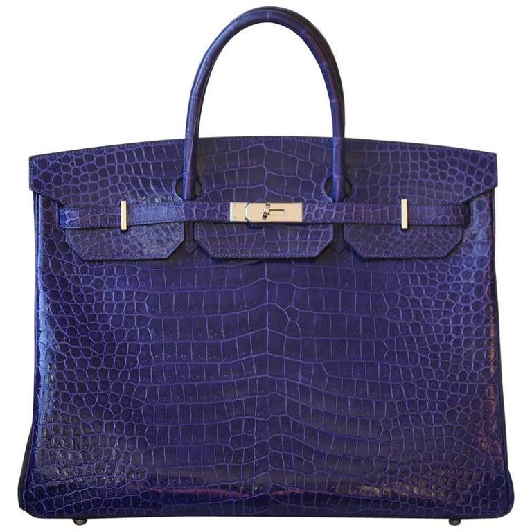 Hermès 40cm Electric Blue Porosus Crocodile Palladium H/W Birkin Bag