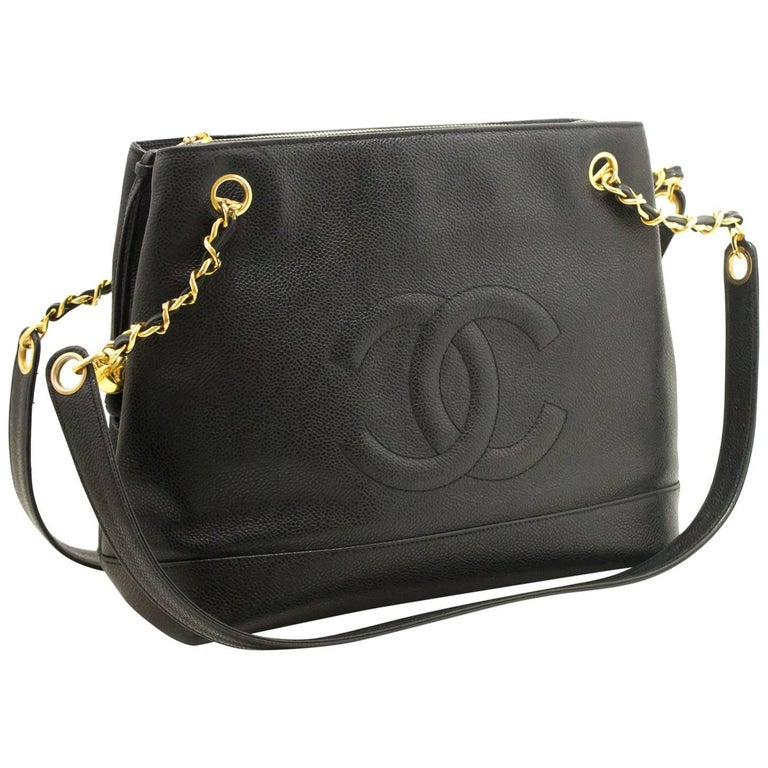 CHANEL Caviar Large Chain Shoulder Bag Black Leather Gold Zipper For Sale d03f8050c0191
