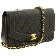 CHANEL Diana Flap Chain Shoulder Bag Crossbody Black Quilted Lamb