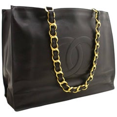 CHANEL Jumbo Large Chain Shoulder Bag Black Lambskin Leather Big