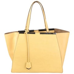 FENDI Cream Leather Large 3Jours Tote Shopping Bag