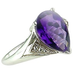 Amethyst Pear Shape in Sterling Silver Ring