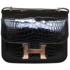 Hermès 18cm Crocodile Rose Gold H/W Constance Mini Bag
