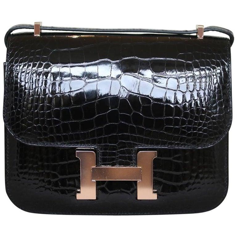 Hermès 18cm Crocodile Rose Gold H/W Constance Mini Bag