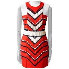 Balmain Red Embellished Crepe Mini Dress