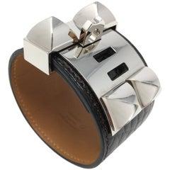 Hermes Black Alligator Collier de Chien Bracelet