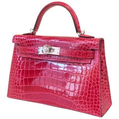 Hermes Kelly Bag Rose Extreme 20 sellier alligator missip shinny phw