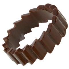 Brown Bakelite Zig Zag Bangle