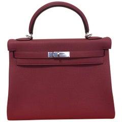 Hermes Kelly Handbag 32 Rouge Grenat togo palladium hardware