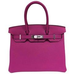 Hermes Birkin Bag Rose Pourpre 30 togo palladium hardware