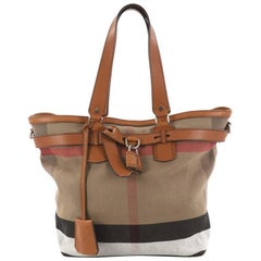 Burberry Traveller Tote House Check Canvas Medium