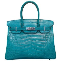 Hermes Birkin Bag Blue Paon 30 Alligator Missis Mat palladium hardware