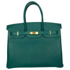 Hermes Birkin Handbag 35 Malachite Epsom Gold Hardware