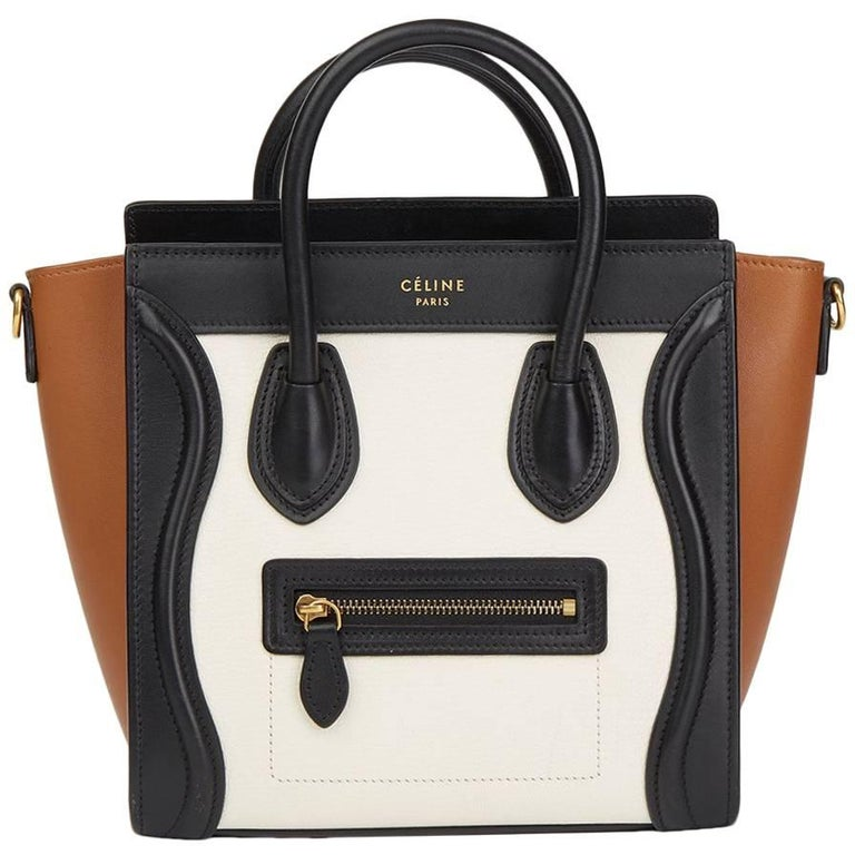 2015 Celine Black, White, Brown, Calfskin & Chevre Goatskin Leather Nano Tote