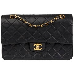 1987 Chanel Black Quilted Lambskin Vintage Medium Classic Double Flap Bag