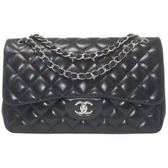Chanel Black Double Flap Made from Lambskin with Silver Hardware and Card
