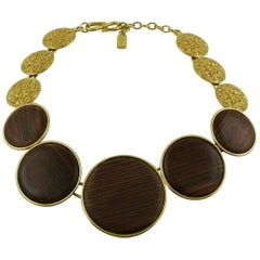 Yves Saint Laurent YSL Graduated Wood Necklace