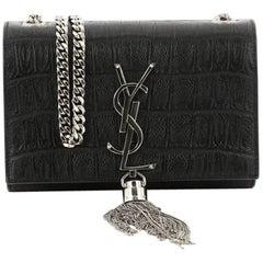 Saint Laurent Classic Monogram Tassel Crossbody Bag Crocodile Embossed Leather